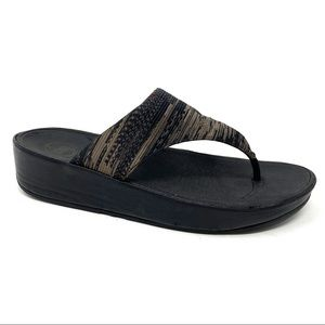 Fitflop black brown thong sandals